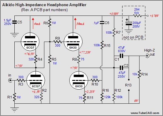 电子管高阻耳机放大器电路图