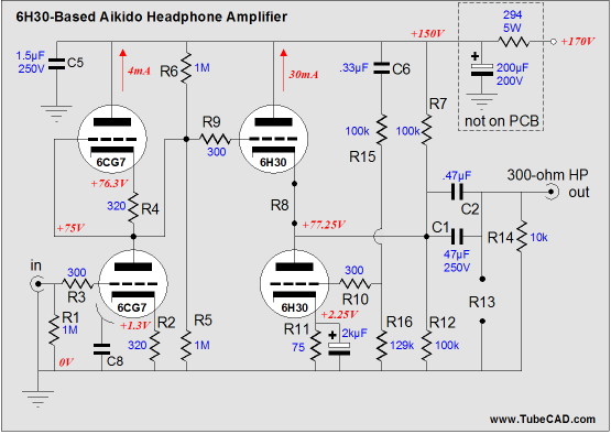Tube Power   Schematic on headphone lifier project
