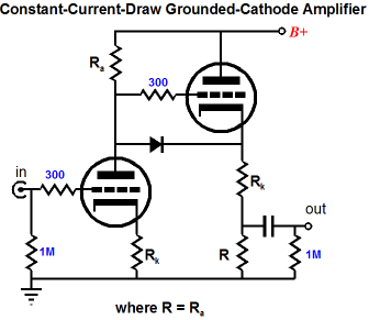 common cathode amplifiers plate followers With constant current power amplifier