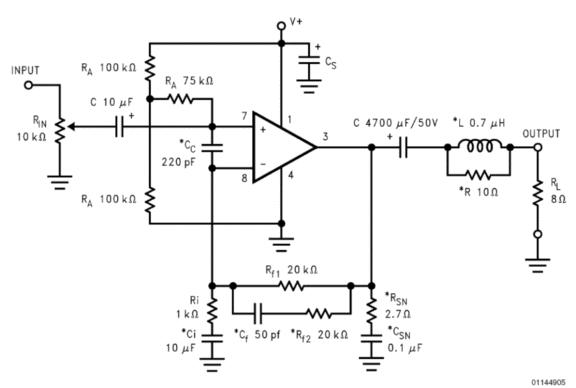 Схема усилителя мощности звуковой частоты на LM3875.