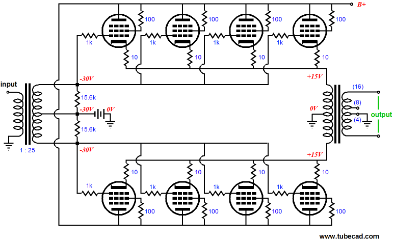 tube-based power-booster amplifier click on schematic to enlarge