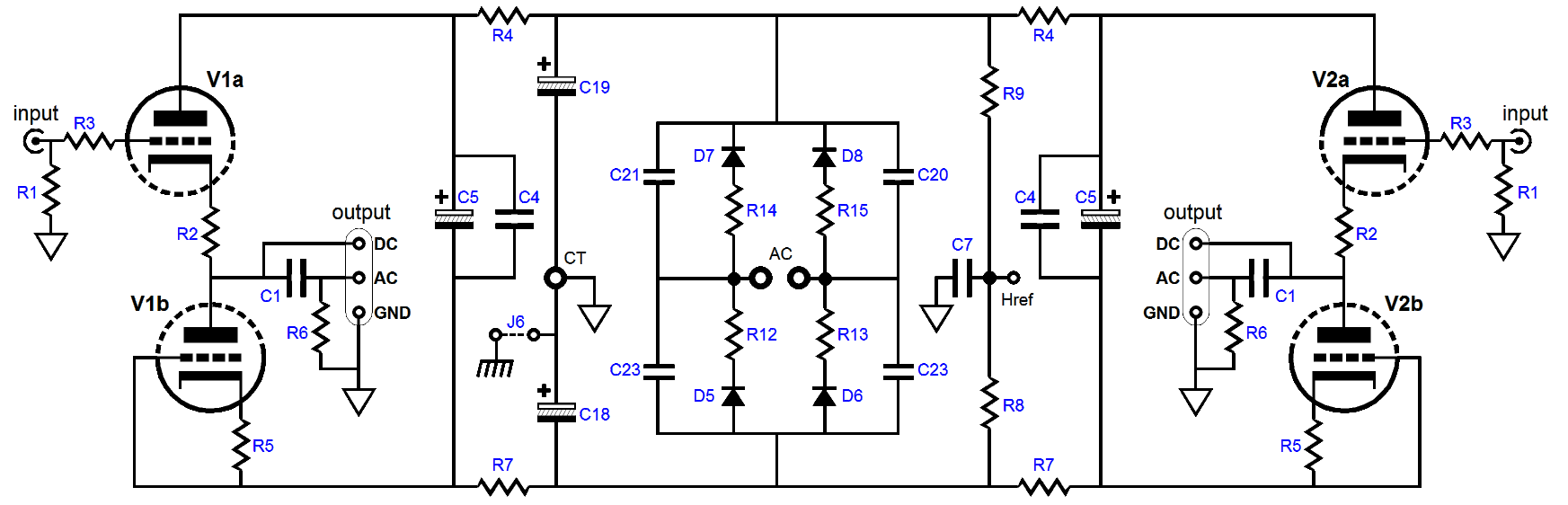 Aikido Cathode Follower 2 Impedance Multiplier Circuits And The Ps 6 Way Crossover Active Circuit Both Channels Bipolar High Voltage Power Supply Are Shown In Above Schematic Acf Uses A Two Triodes Per Channel