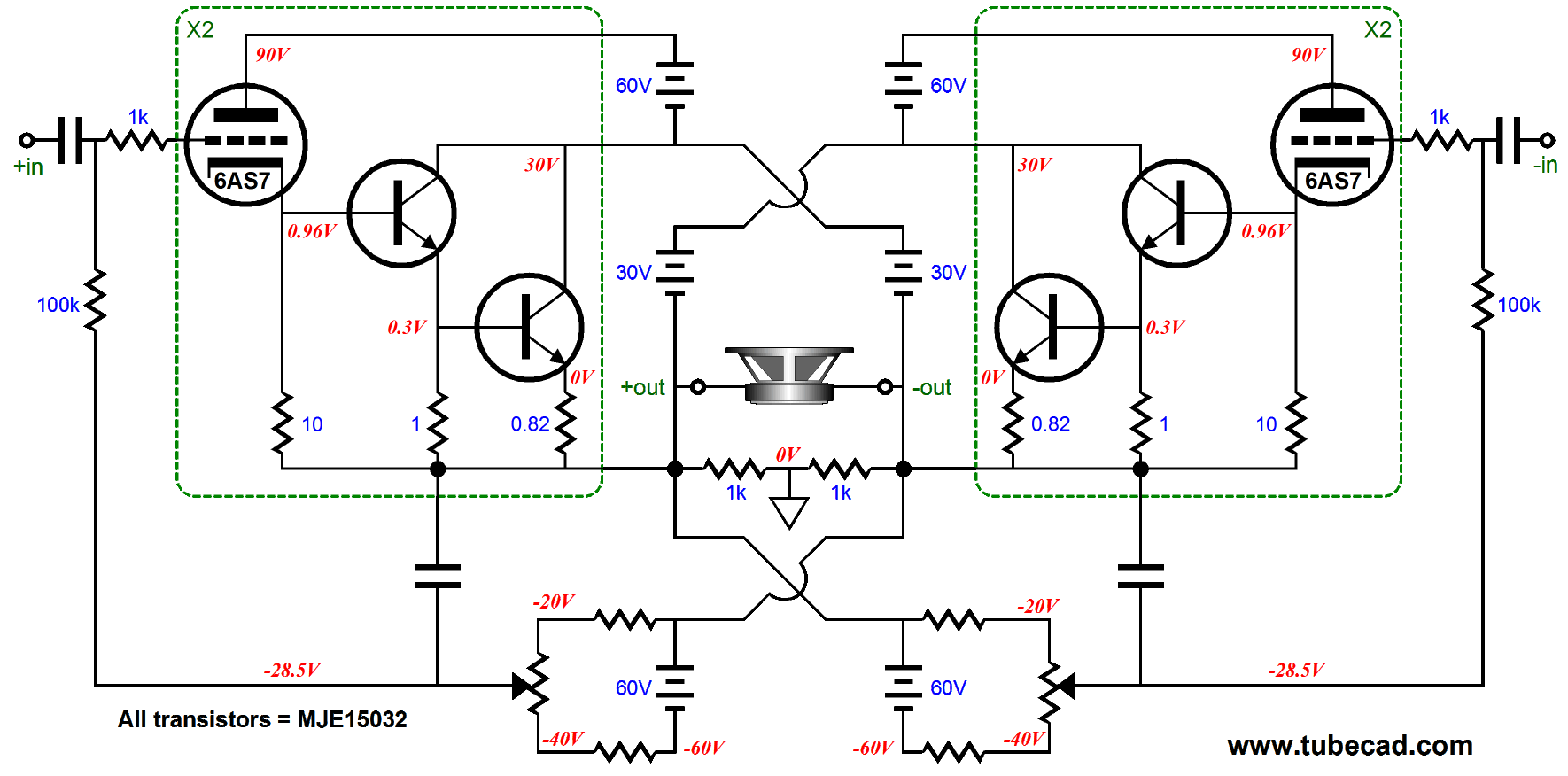 More Distortion Reduction Taming The Triadtron Possibly Related To Quotopamp Application Unity Gain Bufferquot Circuits Note Dc Servo On Right And Auto Bias Circuit Left Nice Today I Would Not Use Mje15032 Transistors Specified But Mjl3281a